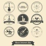 Musikalischer Kurs-Weinlese-Aufkleber lizenzfreie abbildung