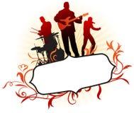 Musikalisches Band auf abstraktem tropischem Feld-Hintergrund Lizenzfreies Stockfoto