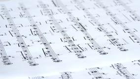 Musikalisches Briefpapier-Blatt stock footage