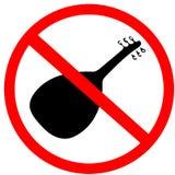 Musikalisches Instrument ud nicht erlaubtes rotes Kreis-Verkehrsschild stock abbildung