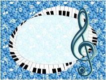 Musikalisk affisch med G-klav och fingerboarden Royaltyfria Bilder