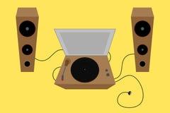 Musikalisk aktivering Vinylskrapa Dj vektor hörbart royaltyfri illustrationer