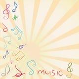 Musikalisk bakgrund med G-klav och anmärkningar Royaltyfri Bild