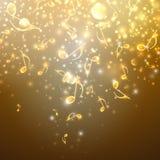 Musikalisk bakgrund med guld- anmärkningar Arkivbilder