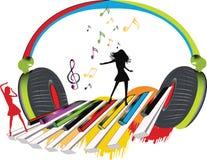musikalisk hörlurar Arkivfoto