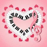 Musikalisk hjärta med G-klav och fingerboarden Arkivbild
