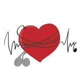 Musikalisk hjärtahörlurar, puls Arkivfoto