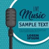 Musikalisk konsertetikett med mikrofonen stock illustrationer