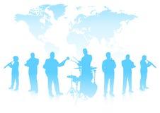 Musikalisk musikband på världsbakgrund Arkivbild
