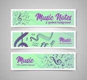 Musikalisk notsystemvektorillustration med musikanmärkningar och symboler Royaltyfria Foton