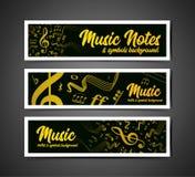 Musikalisk notsystemvektorillustration med musikanmärkningar och symboler Arkivbild
