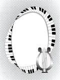 Musikalisk ram med lyran och fingerboard på rastrerad bakgrund Arkivbild