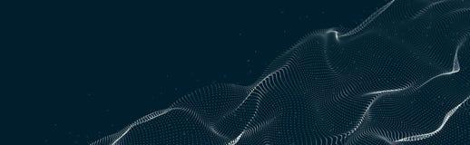 Musikalisk v?g av partiklar Solida strukturella anslutningar Abstrakt bakgrund med en v?g av lysande partiklar V?g 3d royaltyfri illustrationer