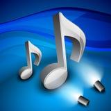 musikaliska anmärkningar 3D på blank bakgrund. royaltyfri illustrationer