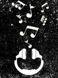 Musikaliska anmärkningar för vita hörlurarlekar, vektor Arkivfoto