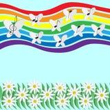 Musikaliska anmärkningar och fjärilar som cirklar i himlen på en regnbåge b Arkivbild