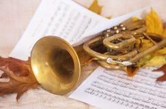 Musikaliska anmärkningar och trumpet Royaltyfri Fotografi