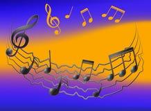 Musikaliska anmärkningar på vibreringspersonalen och colorfullbakgrund vektor illustrationer