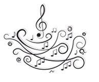 Musikaliska anmärkningar. Prydnad med swirls. stock illustrationer