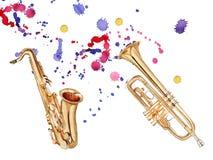 Musikaliska blåsinstrument Saxofon och trumpet bakgrund isolerad white stock illustrationer