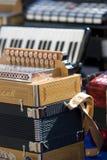 musikaliska dragspels- instrument Fotografering för Bildbyråer