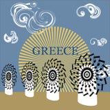 Musikaliska grekiska traditionella väderkvarnar för vektor Royaltyfria Bilder