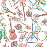 Musikaliska instrument skissar Arkivbild