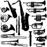 musikaliska mässingsinstrument stock illustrationer