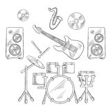 Musikaliska musikbandinstrument skissar uppsättningen Arkivbild