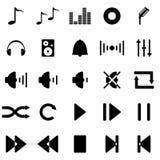 Musikaliska symboler för vektor i svart vektor illustrationer