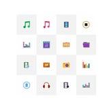 Musikaliska symboler på en vit Royaltyfria Bilder