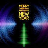 Musikaliskt kort för julträd med vinylspår Arkivfoton