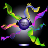 Musikaliskt tema med bollen och hörlurar Royaltyfria Bilder
