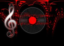 Musikaliskt tema med den G-tangent och notsystemet arkivbild