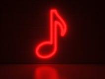 Musikanmärkning - serieneontecken Arkivbild