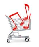 Musikanmärkningar i shoppingvagn Royaltyfria Foton