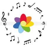 Musikanmärkningar med den färgglade blomman stock illustrationer