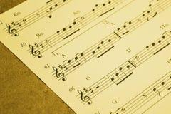 Musikanmärkningar, musikark Arkivbilder