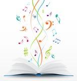 Musikanmärkningar på öppen bokbakgrund Arkivfoto