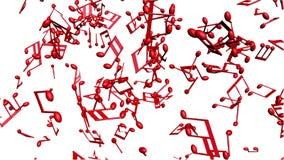 Musikanmärkningar som flödar på vit bakgrund stock illustrationer