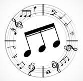 Musikanmärkningsbakgrund med symboler Arkivfoto