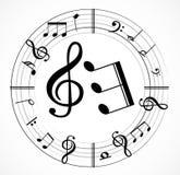 Musikanmärkningsbakgrund med symboler Royaltyfri Fotografi