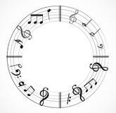 Musikanmärkningsbakgrund med symboler Royaltyfria Bilder