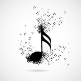 Musikanmerkung mit Explosionseffekt Stockbilder