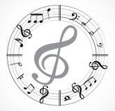 Musikanmerkung mit Musikbaum Stockfotos