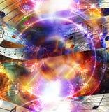 Musikanmerkung und Schattenbildmusik Sprecher und Raum mit Sternen Abstrakter Farbenhintergrund Abbildung der elektrischen Gitarr Lizenzfreie Stockfotografie