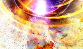Musikanmerkung und Schattenbildmusik Sprecher und Raum mit Sternen Abstrakter Farbenhintergrund Abbildung der elektrischen Gitarr Lizenzfreies Stockfoto