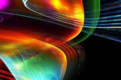 Musikanmerkungen, bunte Illustration auf schwarzem Hintergrund Stockbild