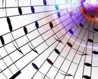 Musikanmerkungen und Farbhintergrund Abbildung der elektrischen Gitarre Lizenzfreies Stockfoto
