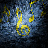 Musikanmerkungs-Grungehintergrund gemasert Stockbilder